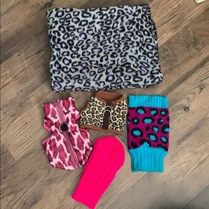 Other - Dog Harnesses Sweater and Leopard Print Blanket